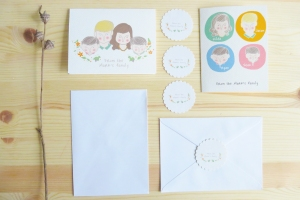 With envelops and stickers